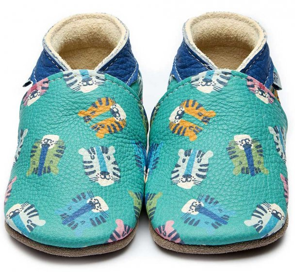 Inch Blue Baby Leather Shoes, blue and turquoise with illustrated tigers