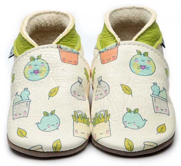 Inch Blue Leather baby Shoes Eco Warrior Cream With painted whales, plants and planets on