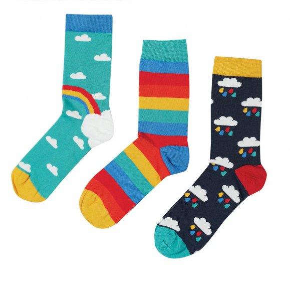 Frugi rock my sock pacific aqua rainbow 3 pack
