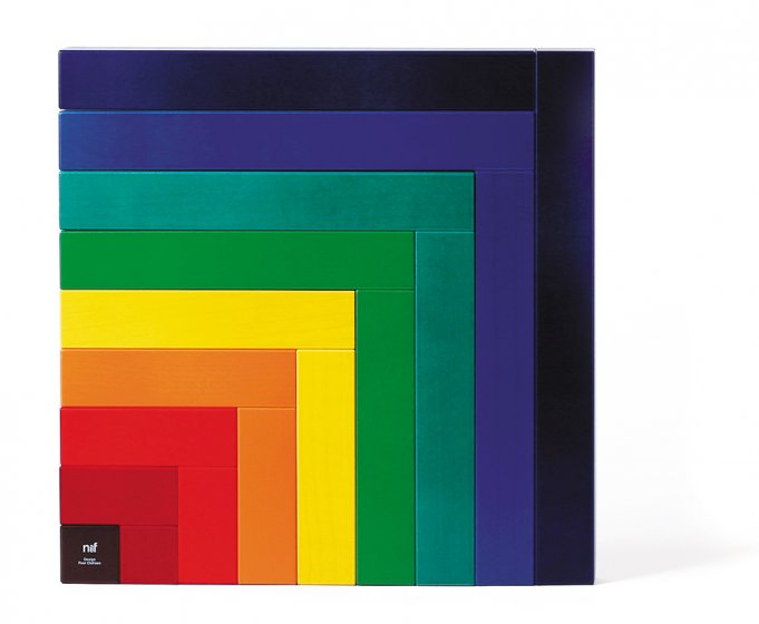Naef's Angular construction toy arranged in a rainbow square shape on a white background.