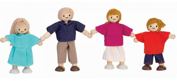 Plan Toys Dolls House Family - White Skin, Blonde Hair