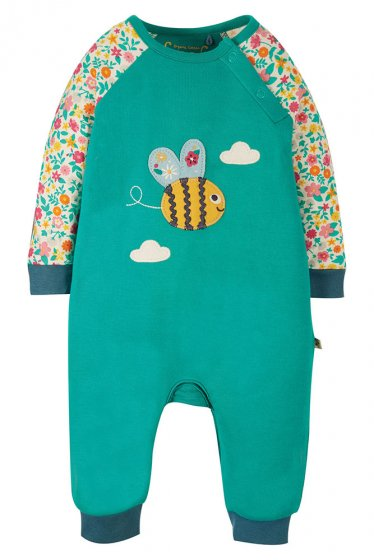 Frugi cameron romper in jewel green with bee applique and ditsy floral print sleeves