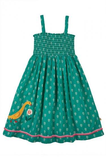 Frugi Cora green girls dress applique duck and flower
