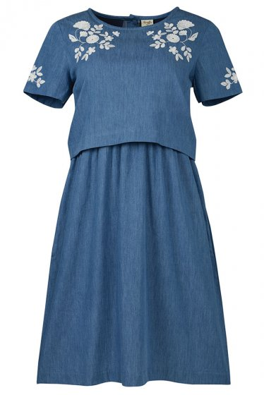 Frugi Camilla Chambray blue denim short sleeve dress with floral pattern on chest and sleeves