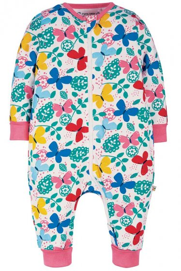 frugi summer zip babygrow with multicoloured butterflies and pink cuffs
