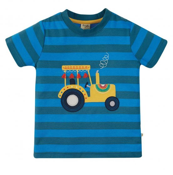 Frugi Sid applique tractor tshirt