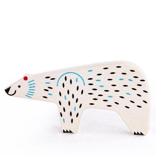 bajo white polar bear wooden toy figure