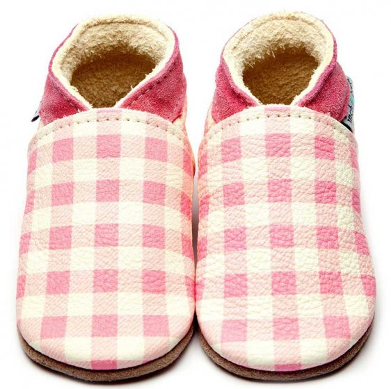 Inch Blue Pink Gingham leather baby shoes with pink suede collar