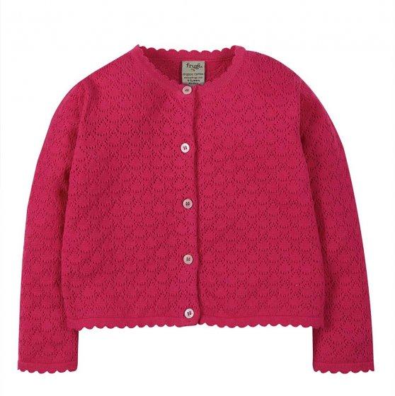 Frugi pointelle rich pink cardigan