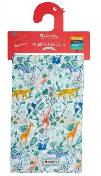 Piccalilly Animal Adventure Muslin Swaddle