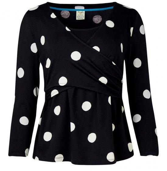 Frugi black and white polka dot winnie maternity wrap top