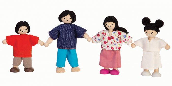 Plan Toys Dolls House Family - White Skin, Black Hair