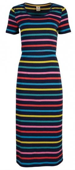 Frugi Melanie india ink stripe midi adult dress rainbow stripes