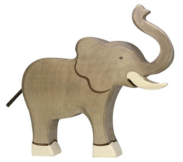 Holztiger Elephant with Raised Trunk