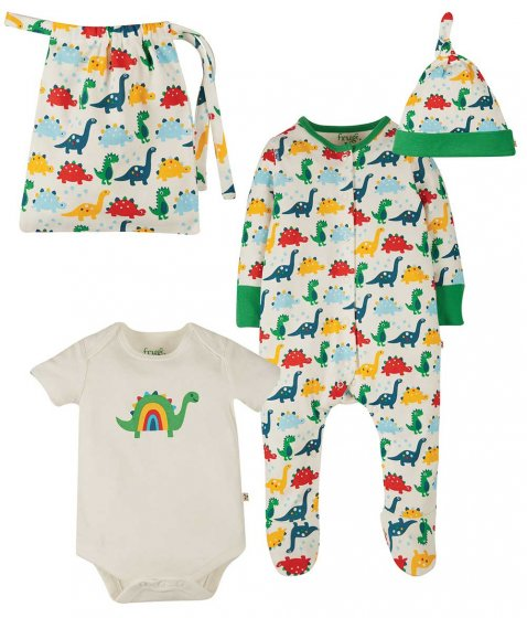 Frugi Rainbow Dinos gift set including hat, babygrow,top body, and bag