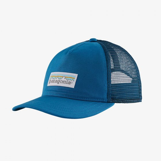 Picture of the pastel Steller blue trucker hat (front view). Picture background is white.