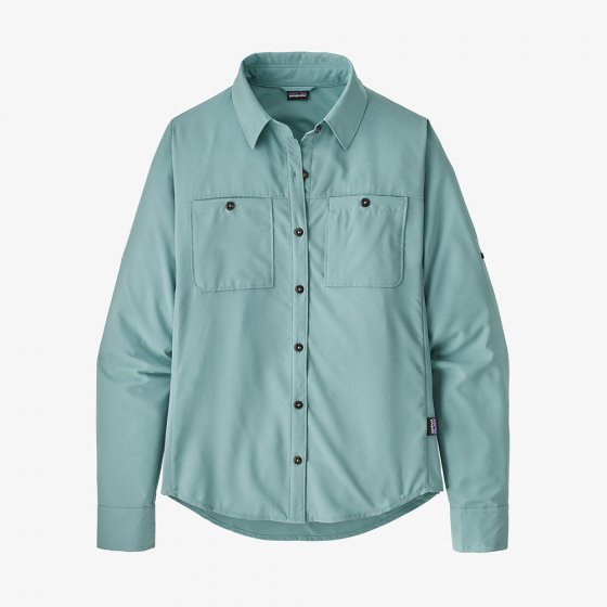 Patagonia long sleeve hiking shirt in the colour blue.
