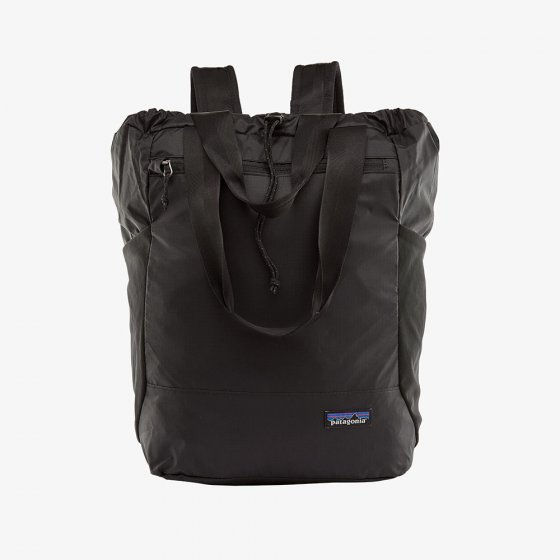 Picture of the black tote pack (front view). Picture background is white.