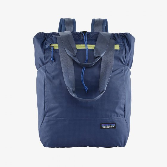 Picture of the blue tote pack (front view). Picture background is white.
