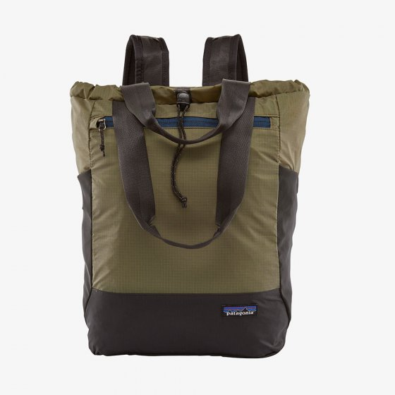 Patagonia ultralight black hole tote pack in sage khaki colour.