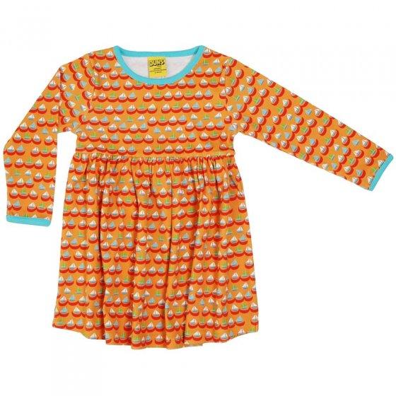 DUNS Adult Orange Sailing Boats LS Gathered Dress
