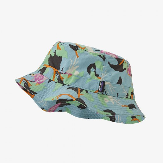 Picture of big sky blue bucket hat. Picture background is white.