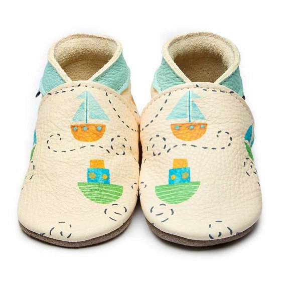 Inch Blue Ahoy There Leather Baby Shoes With Painted Boats