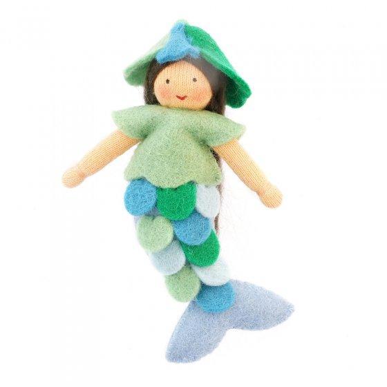 Ambrosius Blue Mermaid light brown skin fairy doll on a white background