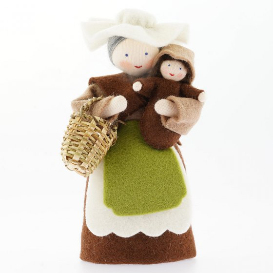 Ambrosius Mother Earth With Basket & Seed Baby Brown Hair White Skin