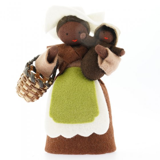 Ambrosius Mother Earth With Basket & Seed Baby Brown Hair Black Skin