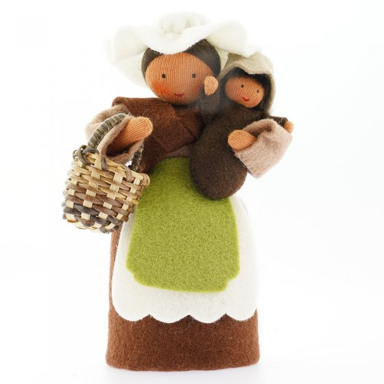 Ambrosius Mother Earth With Basket & Seed Baby Brown Hair Dark Brown Skin