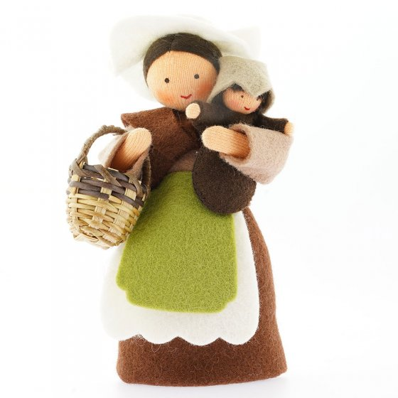 Ambrosius Mother Earth With Basket & Seed Baby Brown Hair Light Brown Skin