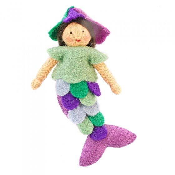 Ambrosius Purple Mermaid light brown skin fairy doll on a white background