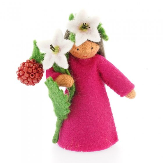 Ambrosius raspberry dark brown skin fairy doll on a white background