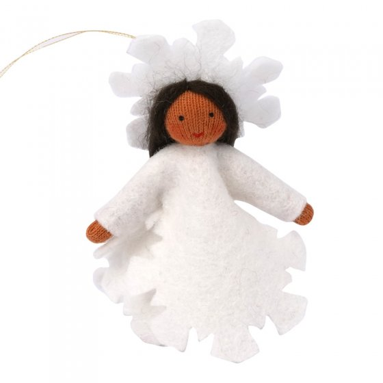 Ambrosius Snowflake Fairy Hanging Decoration Light Brown Skin