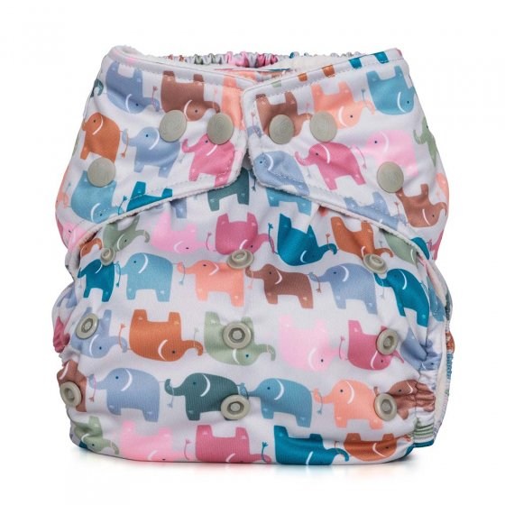 baba & Boo one size elephant design nappy. repeat elephant print in pastel colours.