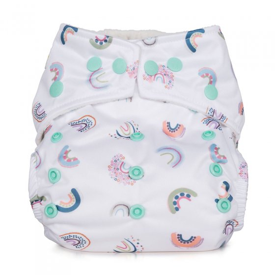 Picture of the white rainbow design one size nappy. Picture background is white.