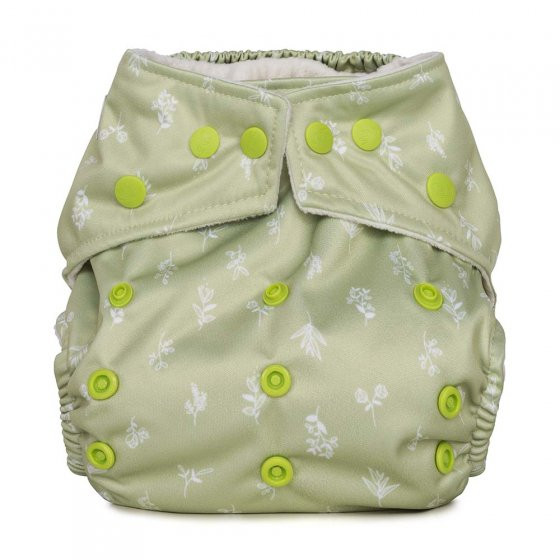 Baba & Boo sapling one size pocket nappy in light green.