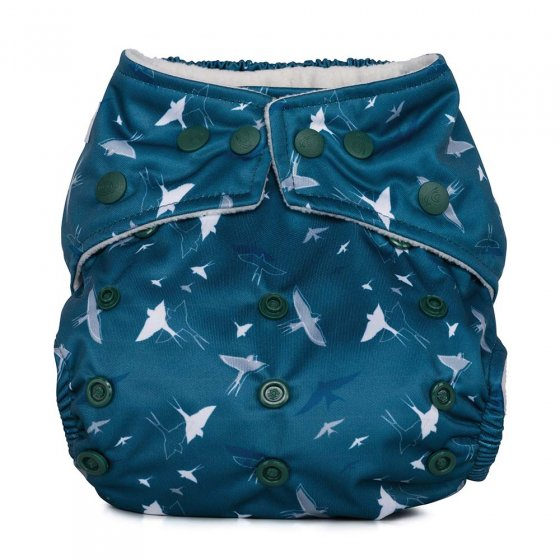 Baba & Boo navy and white swallows one size nappy.