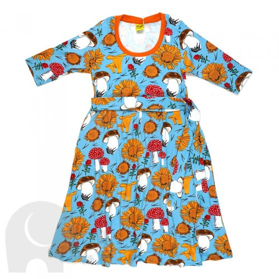 Duns Adult Sunflowers and Mushrooms Sky Blue High Waist Scoop Neck Dress