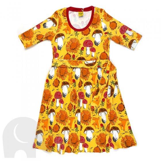 Duns Adult Sunflowers and Mushrooms Sunshine Yellow High Waist Scoop Neck Dress