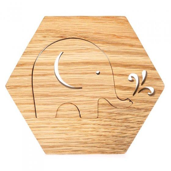 Reel Wood Hexagon Babipur Elephant