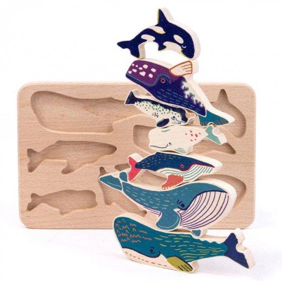 bajo wooden toy whale sorter