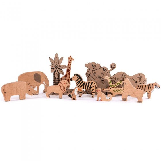 bajo wooden toy jungle animal play set