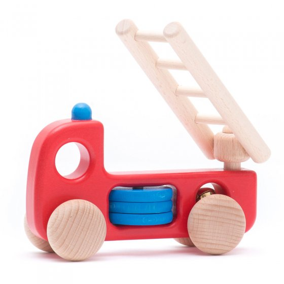 Bajo sustainable wooden fire engine H1 toy on a white background