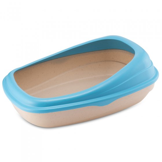 Beco Pets blue sustainable bamboo cat litter tray on a white background.
