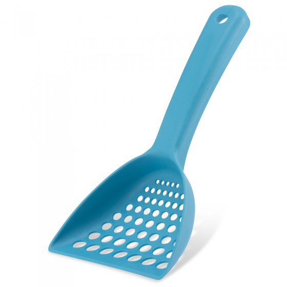 Beco Pets blue sustainable bamboo cat litter scoop on a white background.