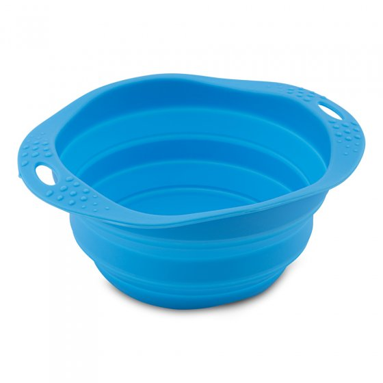 Beco Pets blue sustainable rubber pet travel bowl on a white background.