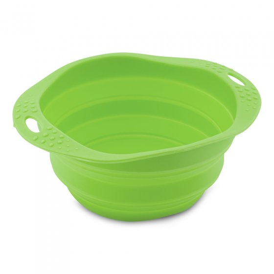 Beco Pets green sustainable rubber pet travel bowl on a white background.