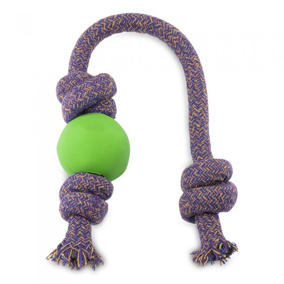 Beco Pets natural rubber ball on rope dog toy on a white background.